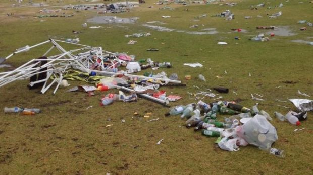 Some of the rubbish left at St Kilda beach and South Beach Reserve after a Christmas night rave.