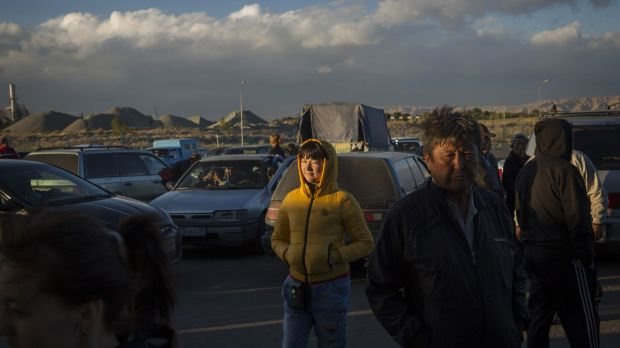 Kazakh traders wait for their goods purchased from China to be cleared on the Kazakh side of the Horgos free-trade zone ...