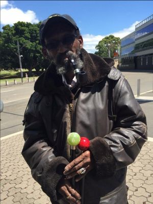 Piping up: Legendary West Indies fan Keith van Anderson, AKA Keith the Pipe Man, bowled up to the SCG on Thursday.