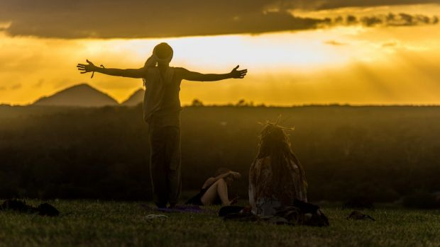 Sunrise yoga on the hilltop at the Woodford Folk Festival 2015/16.