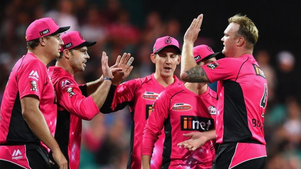 Michael Lumb of the Sixers celebrates catching Glenn Maxwell of the Stars on Sunday. The Sixers lost that game and will ...