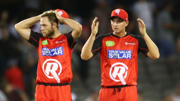 Hands on heads: Nate Rimmington and Nathan Hauritz were on the end of a fierce Scorchers assault.