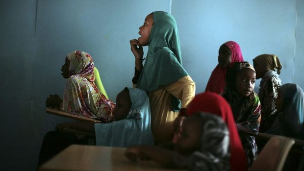 Students in a religion class at the Somali Bantu Association of Central New York in Utica, New York state.