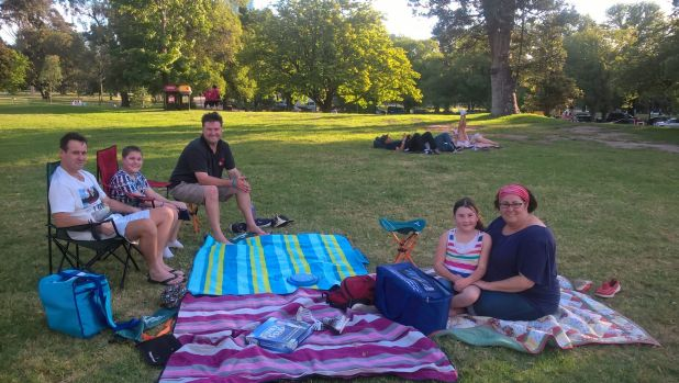 Families get in early to catch the CBD fireworks
