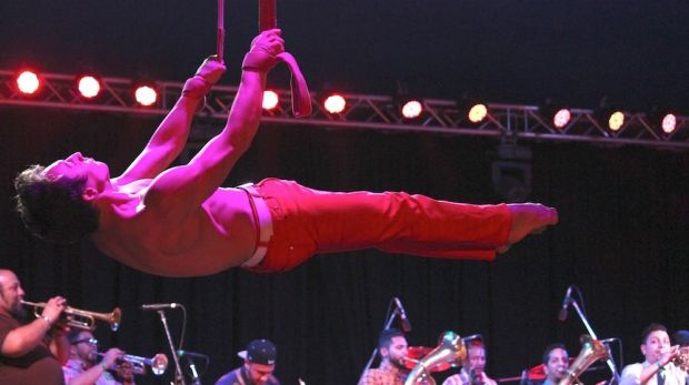 A festival of firsts: ten piece Balkan Brass ensemble Uska Kan accompanied the Circus Spectacular at the Woodford Folk ...