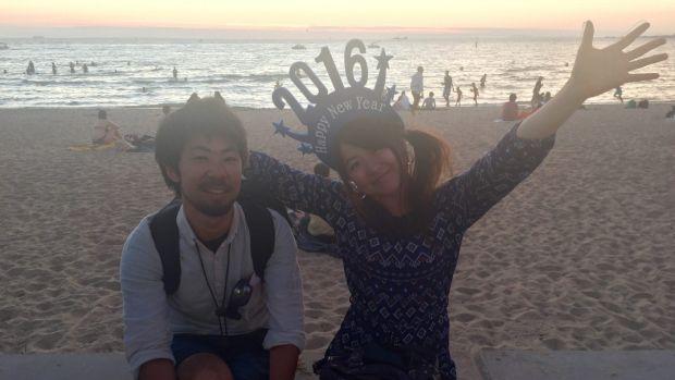 Ryo Takeyama and Nami Takahaski on the St Kilda foreshore.