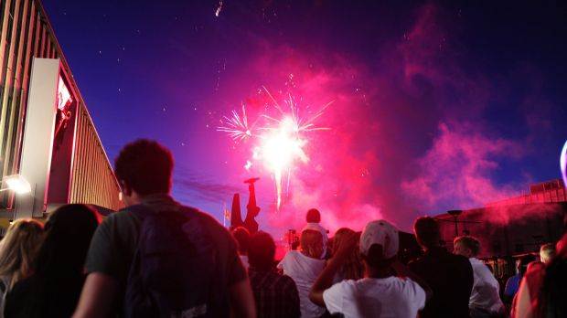 Fireworks go off during the celebration of New Year's Eve at Civic Square in Canberra.