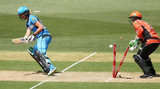 Strikers' top-scorer Sarah Taylor is bowled by Nicky Shaw (not in picture) after attempting a ramp shot.