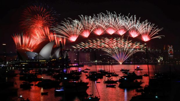 The midnight New Year's Eve fireworks on Sydney Harbour.