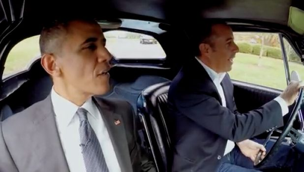 President Barack Obama and Jerry Seinfeld in <i>Comedians in Cars Getting Coffee</i>.