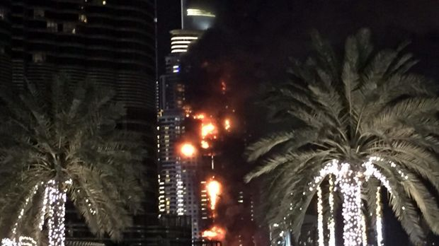 A fire engulfs at least 20 stories of The Address Hotel in Dubai.