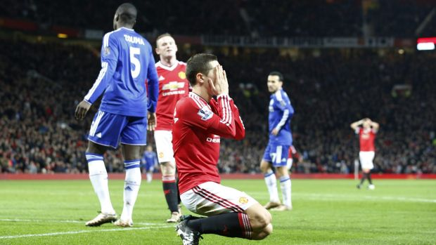 Manchester United's Ander Herrera reacts after missing a chance against Chelsea.