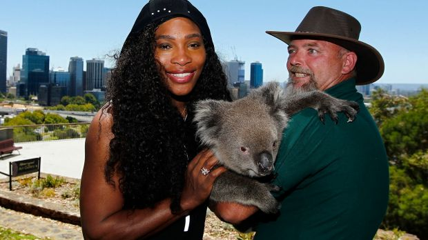 Serena Williams was all smiles when she arrived in Perth but injury forced her out of the opening Hopman Cup tie.