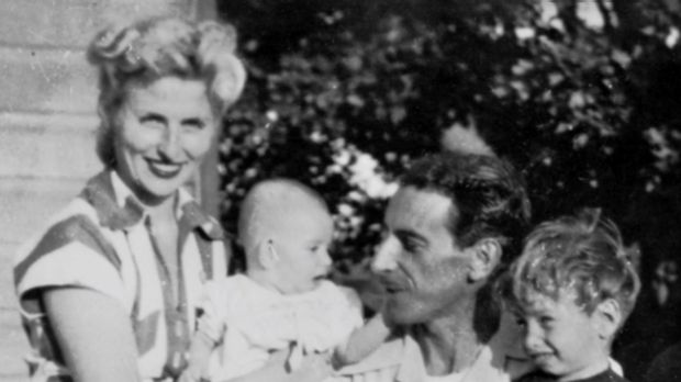 Tony and Shirley Rafty in Maitland with their two eldest children, Denis and Stan, in 1954.
