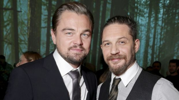Powerful performances ... Leonardo DiCaprio and Tom Hardy, who plays adversary John Fitzgerald in <i>The Revenant</i>.