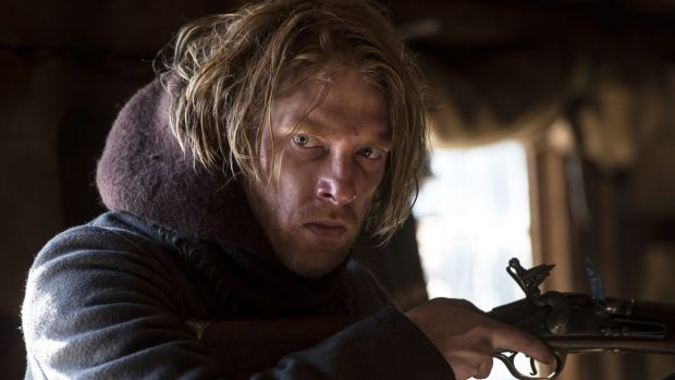 Domhnall Gleeson as Captain Andrew Henry in <i>The Revenant</i>. Gleeson says the cast told jokes to help cope with the ...