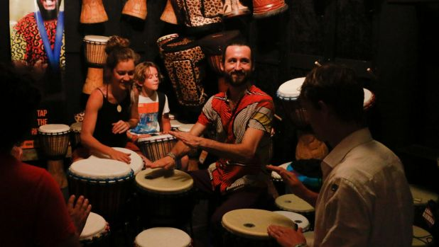 The folks at Threeworlds aren't shy of a drumming circle at Woodford Folk Festival.