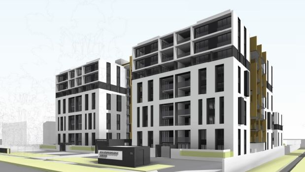 An artist's impression of the proposed apartment buildings from Northbourne Avenue, Braddon.