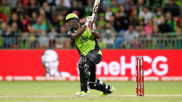 Andre Russell of the Thunder hits a six against the Adelaide Strikers on December 28.
