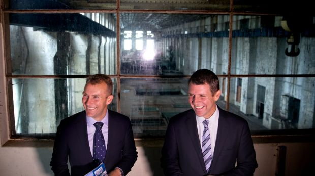 NSW Premier Mike Baird and Planning Minister Rob Stokes at White Bay Power Station in 2015 announcing it would be ...