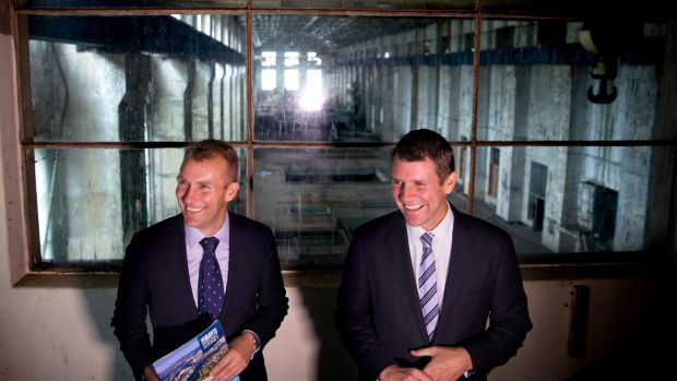 Then NSW premier Mike Baird (right) and then planning minister Rob Stokes announcing plans for a technology hub at White ...