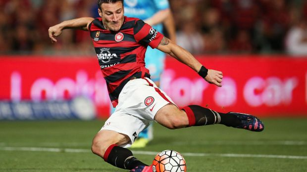 Missing the mark: Federico Piovaccari of the Wanderers shoots for goal.