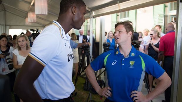 The long and short of it: West Indies and Australian captains Jason Holder and Steve Smith at the Prime Minister's ...