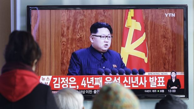 South Koreans watch North Korean leader Kim Jong Un's New Year speech on TV.