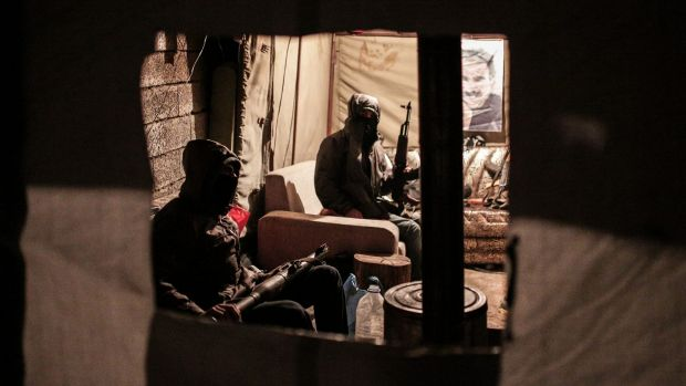 Militants of the Kurdistan Workers' Party, or PKK, in a bunker in Sirnak, Turkey, late last year.