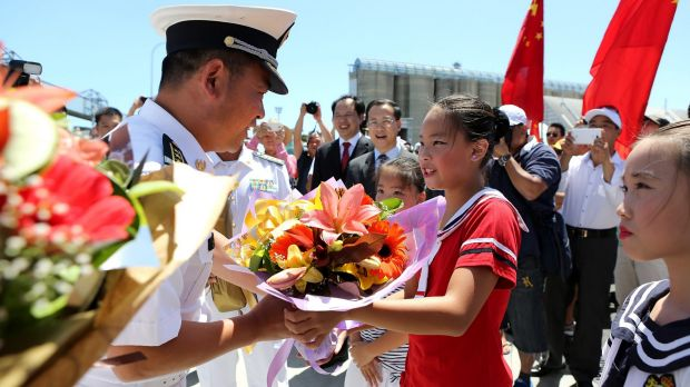 Hundreds of people from the Brisbane Chinese community welcomed the crew from two Chinese navy ships, the Jinan and the ...