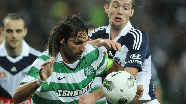On his way to the A-League?: Georgios Samaras in action for Celtic against Melbourne Victory in 2011.