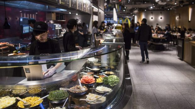 The kitchen is on full display at McDonald's Next concept restaurant in Hong Kong.