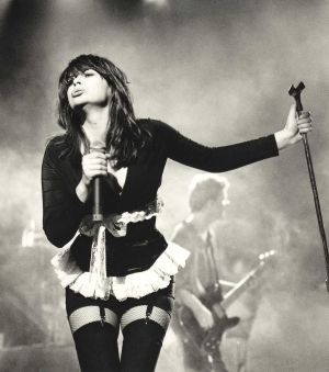 Chrissy Amphlett on stage in Melboune in 1991.