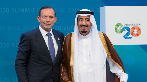 Tony Abbott welcomes then crown prince Salman to the G20 Leaders' Summit in Brisbane in November 2014. Two months later ...