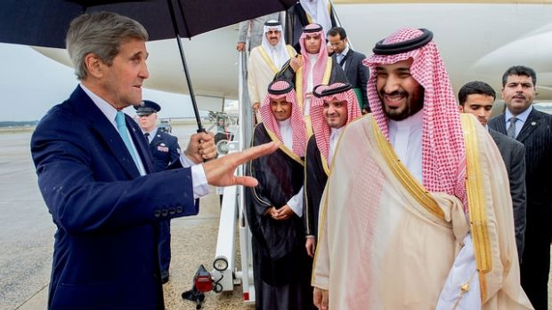 US Secretary of State John Kerry meets Deputy Crown Prince Mohammed bin Salman in Washington in May 2015.
