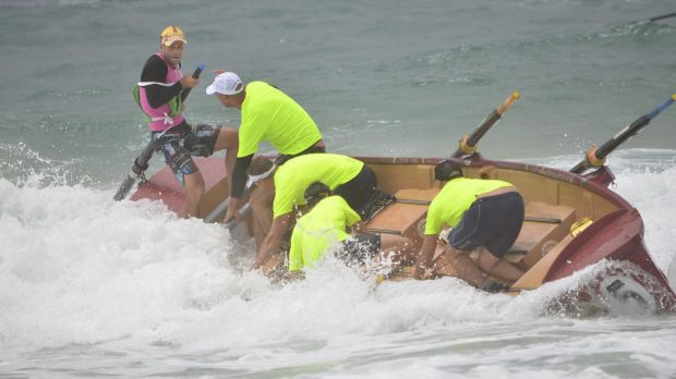 The action didn't stop for the top-performing Bulli team after finishing the race, while trying to get to shore.