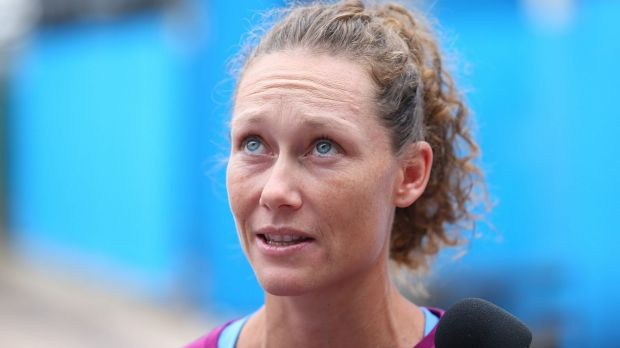 Looking to lift:  Samantha Stosur during day one of the 2016 Brisbane International.