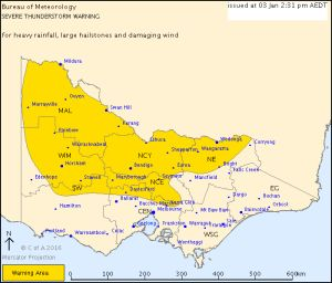 Heavy rainfall, large hailstones and damaging winds expected across much of Victoria.