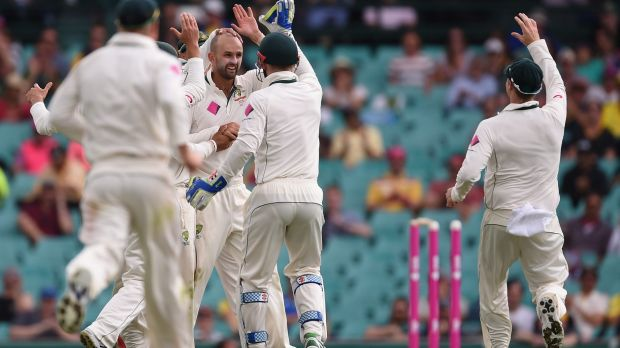 Nathan Lyon celebrates after bowling Jermaine Blackwood with the ball of the day.