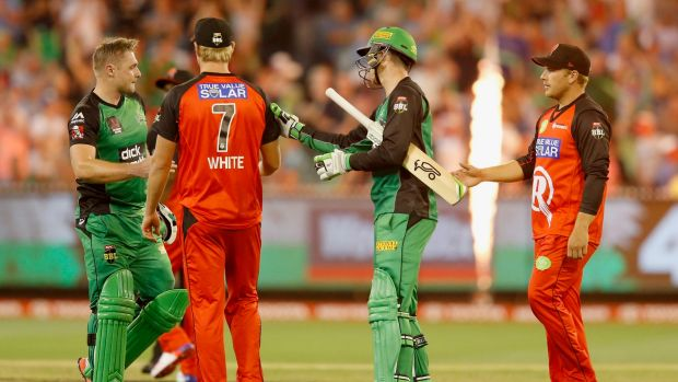 Shining bright: Melbourne Stars batsman Luke Wright is congratulated after leading his team to victory over the Renegades.