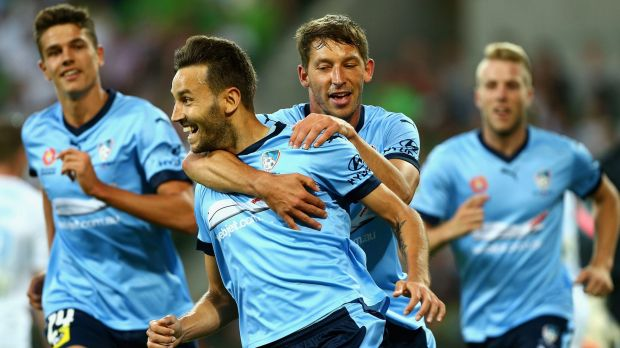 Back of the net: Milos Ninkovic celebrates after scoring a goal during the round 13 A-League match between Melbourne ...
