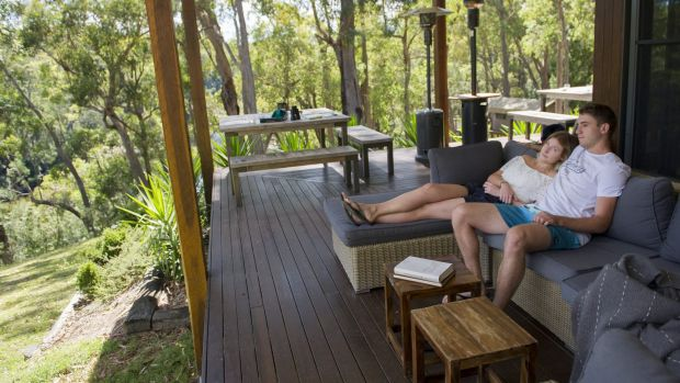 Ethan Harley and and Alex Mackenzie of  Sydney, enjoy the relaxed settings of The Escape luxury camping.