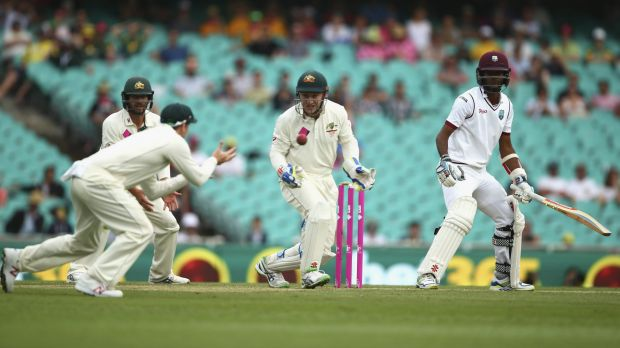 Got him: Kraigg Brathwaite is caught for 85 by Steve Smith off the bowling of Nathan Lyon.