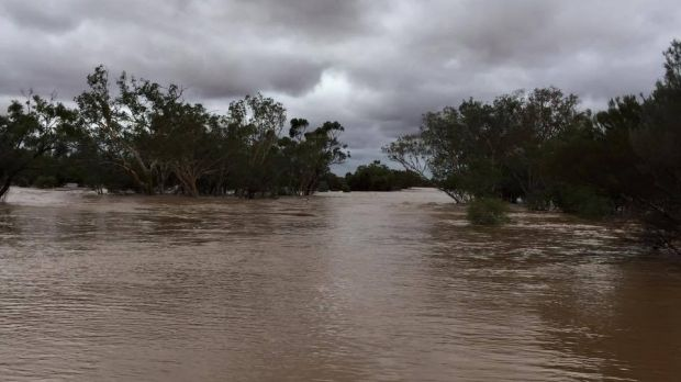 Winbin Creek swollen at the crossing on the Quilpie Charleville road