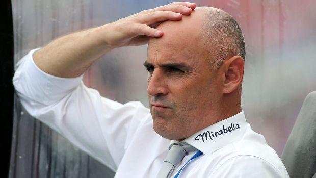 Testing times: Coach Kevin Muscat during Victory's stalemate with the Jets at Hunter Stadium.