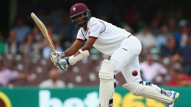 Finding form: Kraigg Brathwaite of West Indies guides one away.