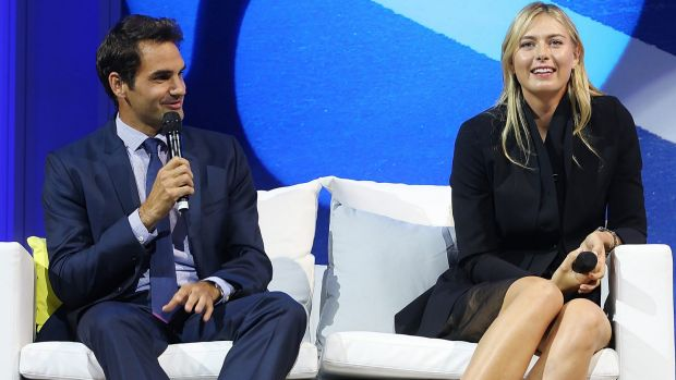 Roger Federer and Maria Sharapova during the Summer Nights player party ahead of the Brisbane International.