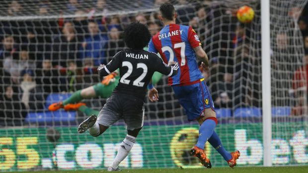 Chelsea's Willian scores against  Palace at Selhurst Park on Sunday.