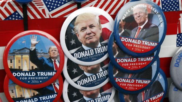 Flashy, colourful, easy-to-grasp: Donald Trump election merchandise.