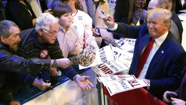 Republican presidential candidate Donald Trump during a rally in Biloxi, Mississippi on Saturday.